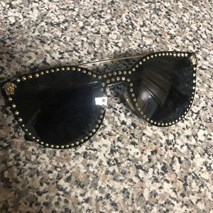 Versace Black Mirror Stud Sunglasses
